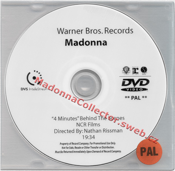 MADONNA 4 Minutes - Behind The Scenes - 2008 US In-House Promo PAL DVD-Reference