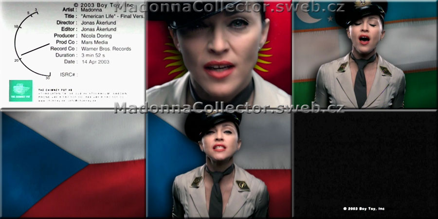 MADONNA American Life - Screencaps from the 2003 UK Promo VHS w/Final Version Video (Flags)