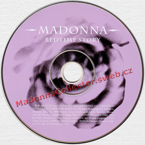 MADONNA Bedtime Story - 1995 US Promo Picture CD Single (PRO-CD-7429)