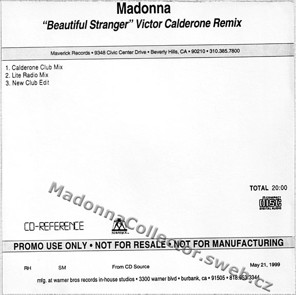 MADONNA Beautiful Stranger - 1999 USA 3-trk In-House CD-Reference (05/21/99)