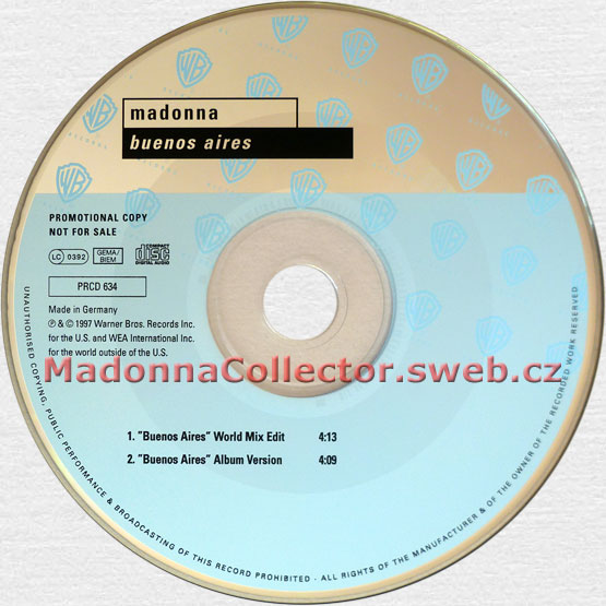 MADONNA Buenos Aires - 1997 German 2-trk Promo CD Single (PRCD 634)
