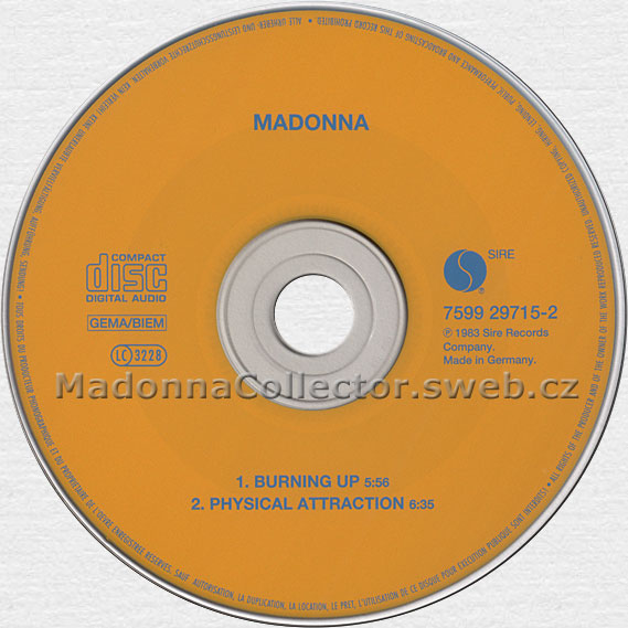 MADONNA Burning Up - 1997 German 2nd issue yellow CD single (7599-29715-2)