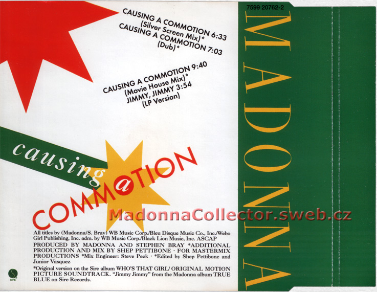 MADONNA - Causing A Commotion - 2005 UK White Label 4-trk CD Single (7599-20762-2)
