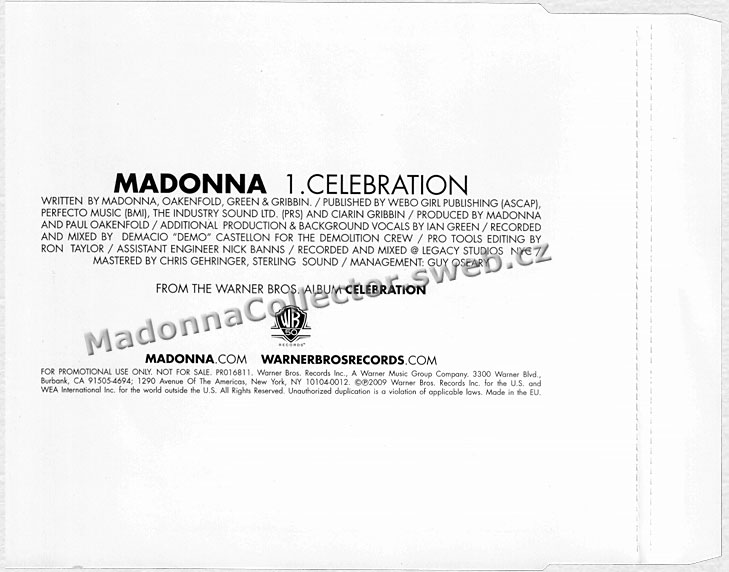 MADONNA Celebration - 2009 EU / German Promo CD Single (PR016811)