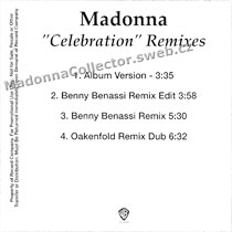 MADONNA Celebration - 2009 US Promo CD