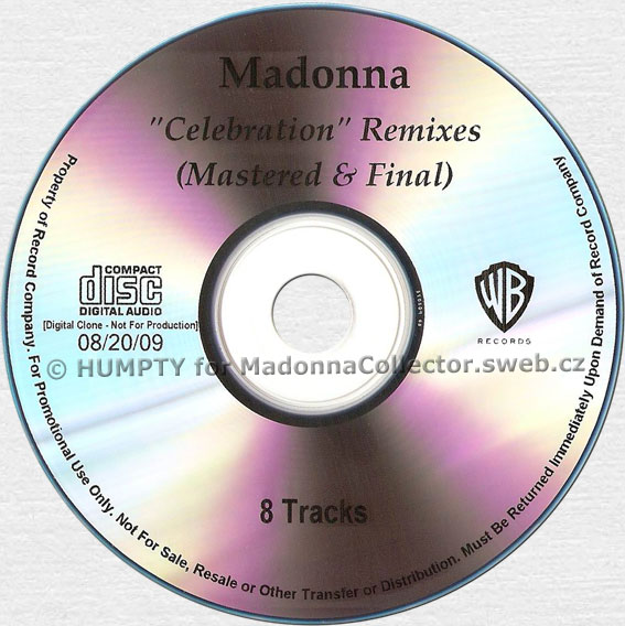MADONNA Celebration Remixes - 2009 US 8-track Promo CD-R