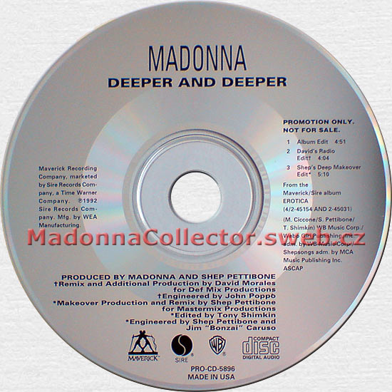 MADONNA Deeper And Deeper - US Promo CD (PRO-CD-5896)
