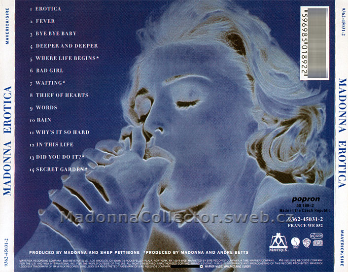 MADONNA Erotica - 1993 Czech Republic 14-trk CD Album (Popron 50189-2)