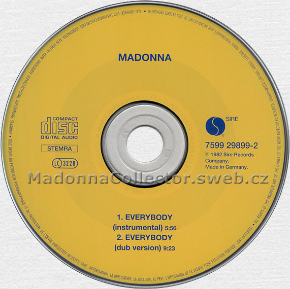 MADONNA Everybody - 1995 Dutch / German Yellow CD Single (7599-29899-2)