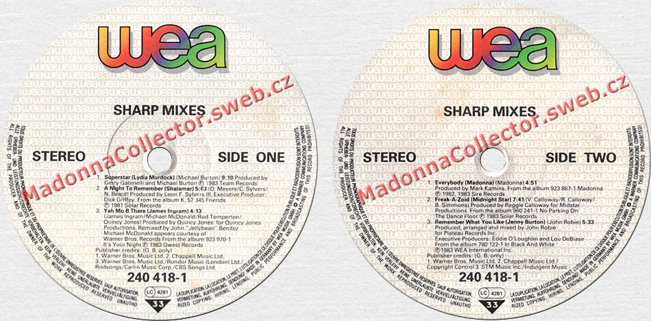 MADONNA Everybody (on Sharp Mixes) - 1983 European WEA LP Compilation (240418-1)