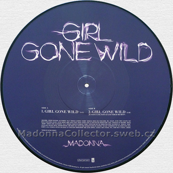 "MADONNA Girl Gone Wild - 2012 EU 12"" Picture Disc (0602537011414)"