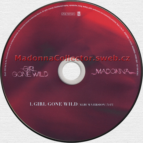 MADONNA - Girl Gone Wild - 2012 UK 1-trk Advance Promo CD Single (MADONNA02)