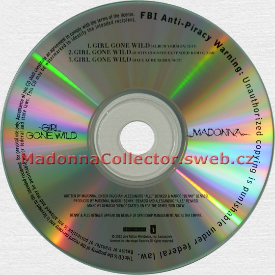 MADONNA - Girl Gone Wild - 2012 USA 3-trk Promo CD-R