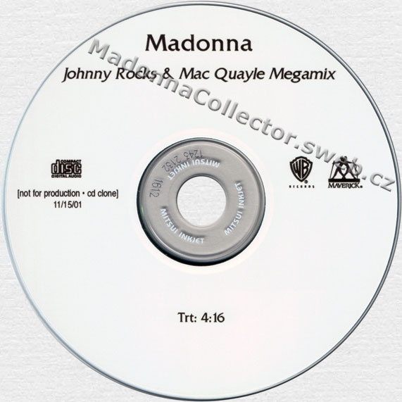 MADONNA Johnny Rocks & Mac Quayle Megamix Edit - 2001 US In-House Promo CD-Reference (11/15/01)