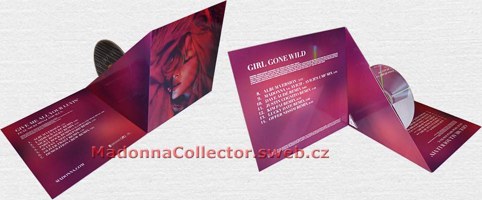 "MADONNA - Give Me All Your Luvin' / Girl Gone Wild - 2012 French 14-trk Numbered Promo CD Single in 8"" Gatefold Picture Cover w/pop-up CD holder (LC06406 / 370155-1)"