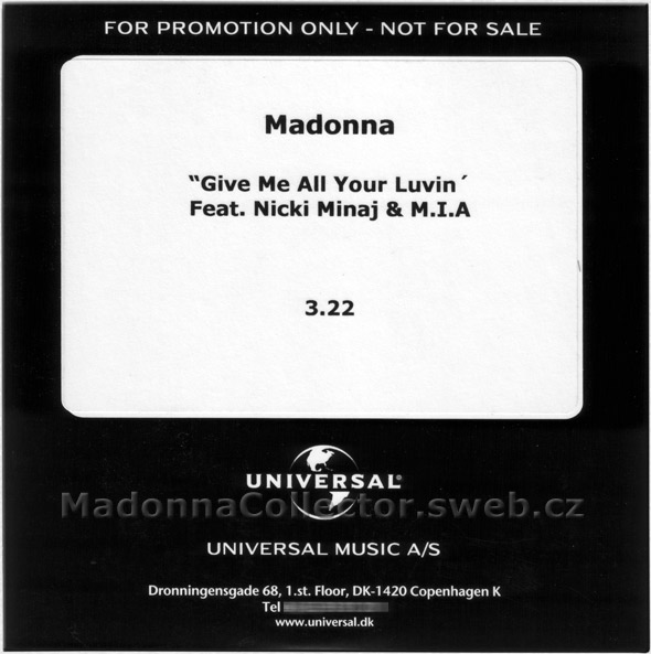 MADONNA & NICKI MINAJ & M.I.A. - Give Me All Your Luvin' - 2012 Denmark 1-trk Promo CD