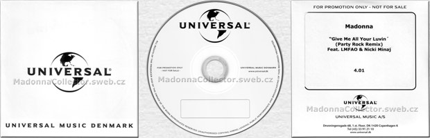 MADONNA & NICKI MINAJ & LMFAO - Give Me All Your Luvin' - 2012 Denmark 1-trk Promo CD