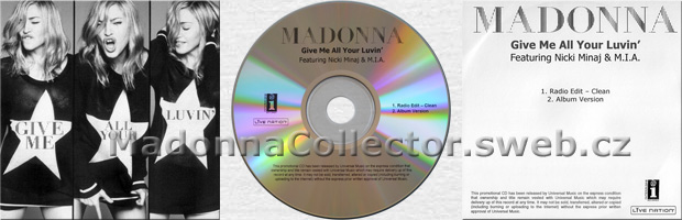 MADONNA & NICKI MINAJ & M.I.A. - Give Me All Your Luvin' - 2012 UK 2-trk Promo CD-R