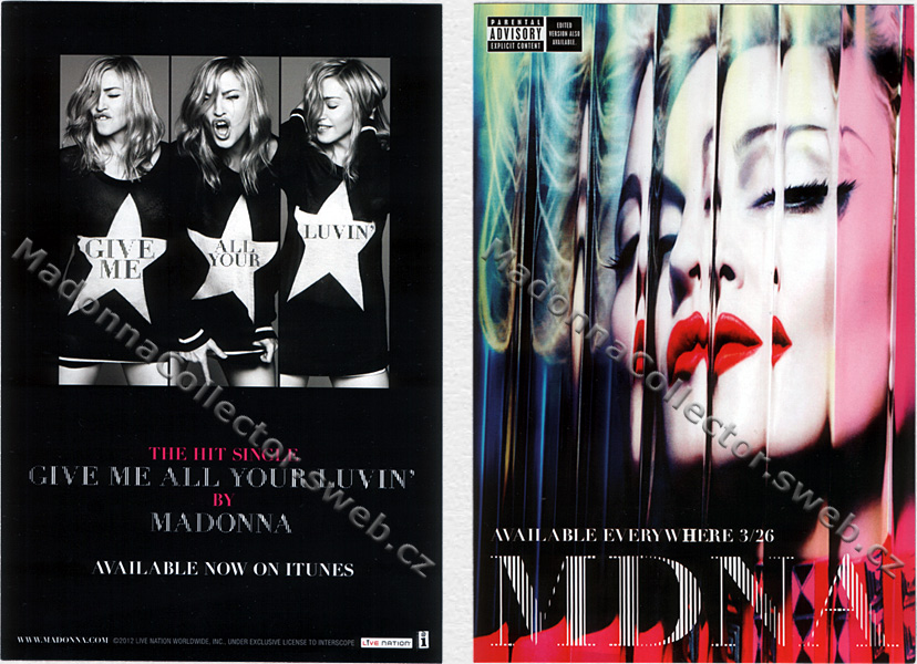 MADONNA & NICKI MINAJ & M.I.A. - Give Me All Your Luvin' - 2012 USA Promo Flyer