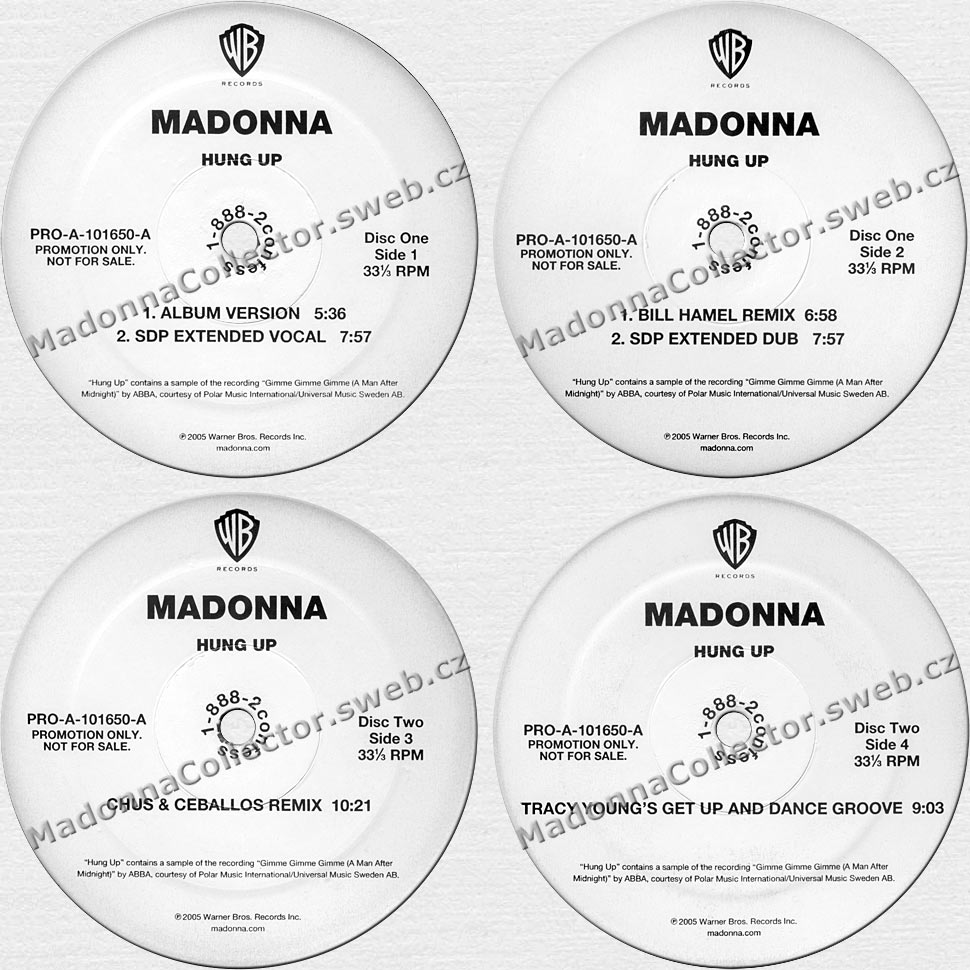 """MADONNA Hung Up - 2005 US Promo 12"""" Doublepack (PRO-A-101650-A)"""