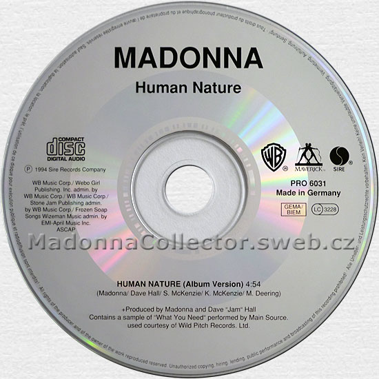 MADONNA Human Nature - 1994 German Promo CD Single (PRO 6031)
