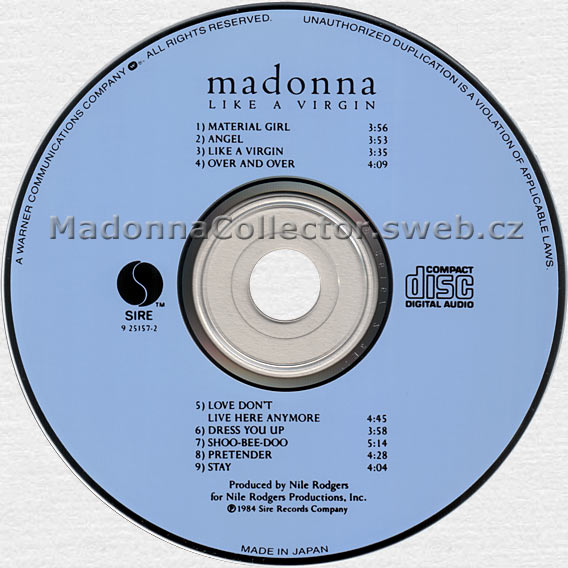 MADONNA Like A Virgin - 1984 Japanese 9-track CD album (7599-25157-2)