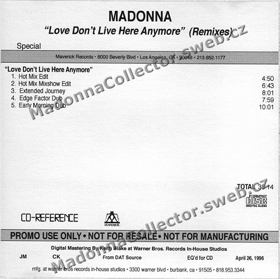 MADONNA Love Don't Live Here Anymore - US In-house Promo CD-Reference (04/26/96)