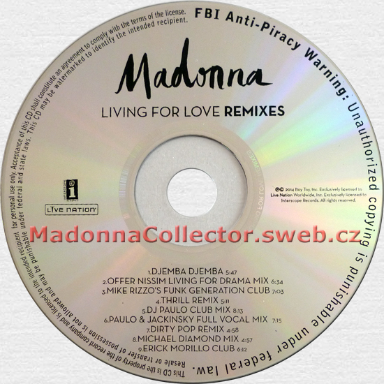 MADONNA - Living For Love Remixes - 2015 USA 9-mix Mispressed Promo CD Single
