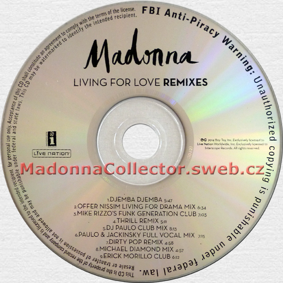 MADONNA - Living For Love Remixes - 2015 USA 9-mix Revised Promo CD Single