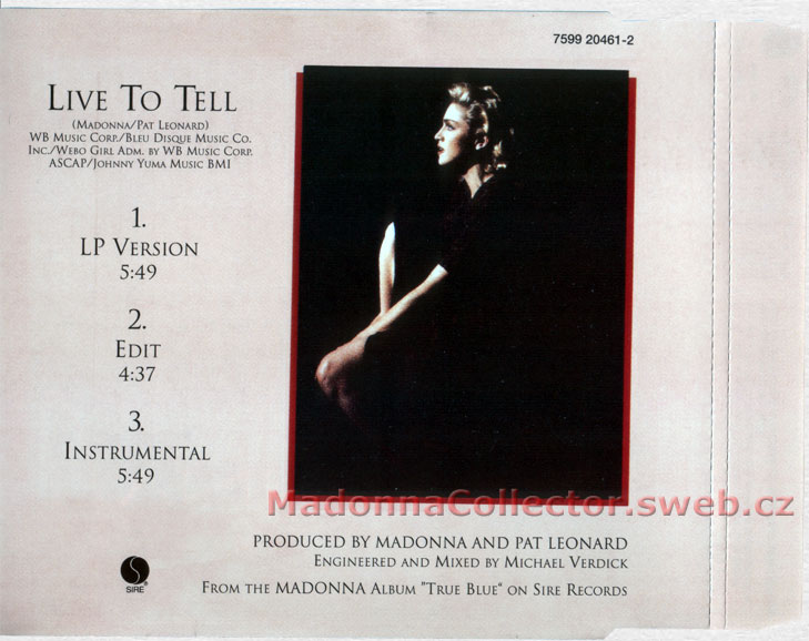 MADONNA Live To Tell - 1995 German 3-trk CD Single (7599-20461-2)