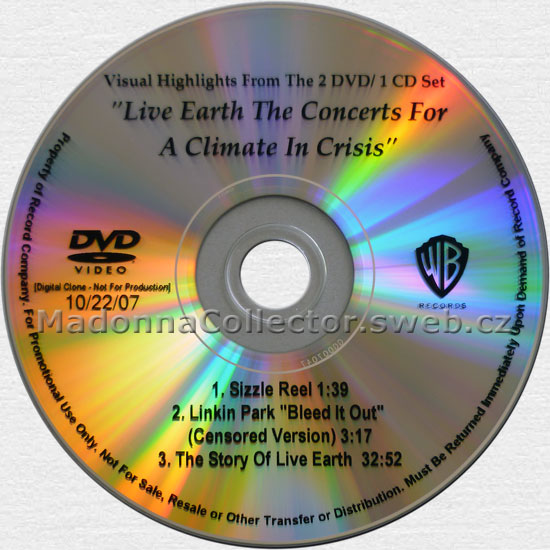 MADONNA on the Warner US 2007 Live Earth Promo DVD-Reference (10/22/07)