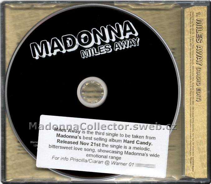 MADONNA Miles Away - 2008 EU / Irish Promo CD Single (PR016677)