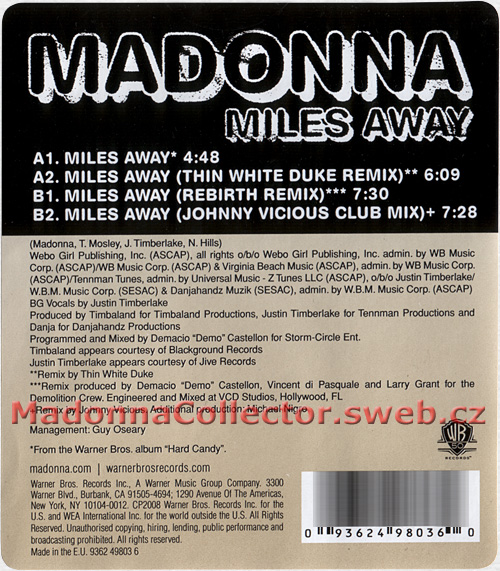 "MADONNA Miles Away - Sticker for the German 12"" Picture Disc (9362-49803-6)"