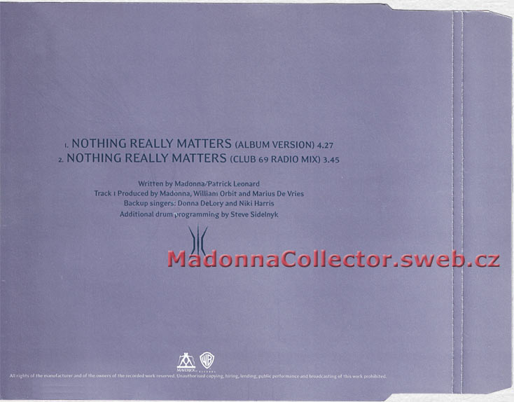 MADONNA Nothing Really Matters - 1999 German Promo CD Single (PR01211 / W471CDDJ)