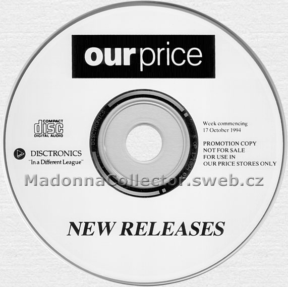Our Price New Releases w/c 17 OCT 1994 - UK Disctronics Instore Promo CD w/tracks from Bedtime Stories album