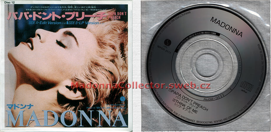 "MADONNA Papa Don't Preach - 1997 Japanese 3"" CD single (Disc #12 from the 40 CD Single Collection) (WPDR-3111)"