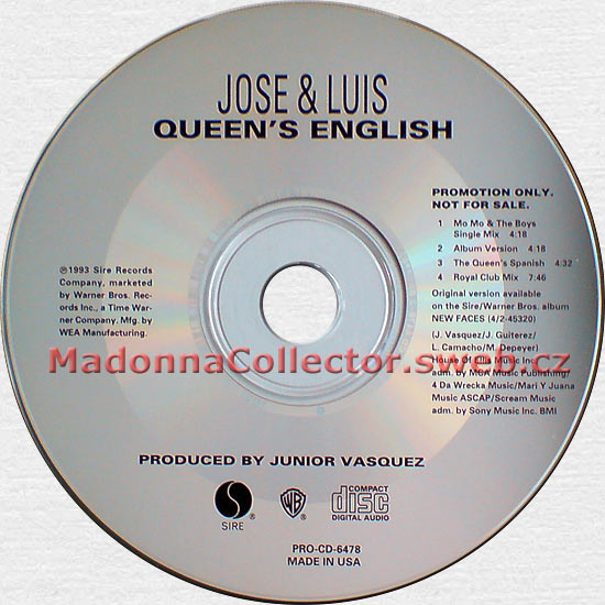 JOSE & LUIS & MADONNA Queen's English - 1993 USA 4-mix Promo CD (PRO-CD-6478)