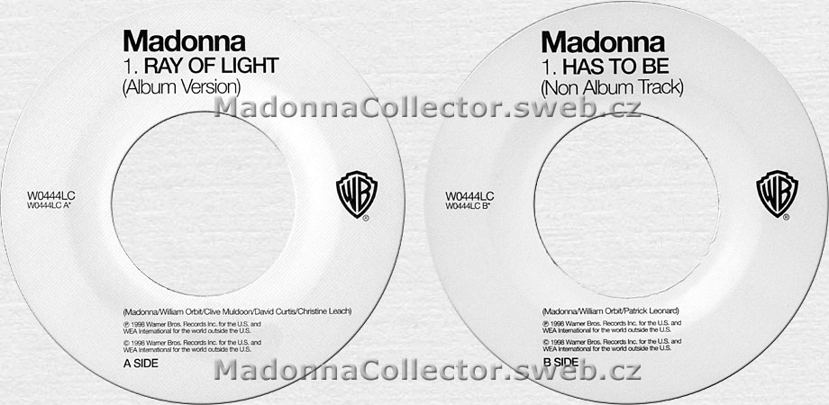 "MADONNA Ray Of Light / Has To Be - UK 1998 Jukebox Promo 7"" (W0444LC)"