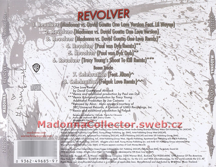 MADONNA - Revolver Remixes - 2010 Thai 8-track CD Single (2-523253 / 9362-49685-9)