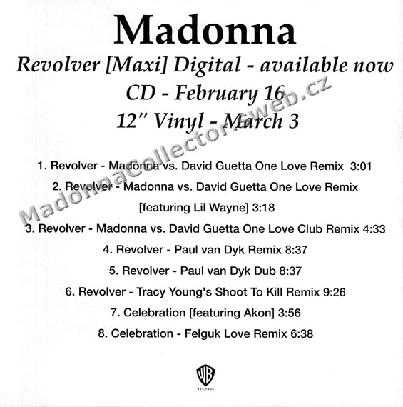 MADONNA - Revolver Remixes - 2010 USA 8-track CD-Reference (01/28/10)