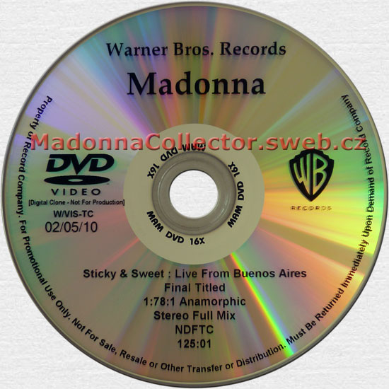 MADONNA The Sticky & Sweet Tour - 2010 USA Timecoded Test Pressing DVD-Reference (02/05/10)
