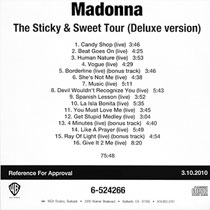 MADONNA The Sticky & Sweet Tour (Deluxe Version) - 2010 US In-House CD-Reference For Approval (6-524266)