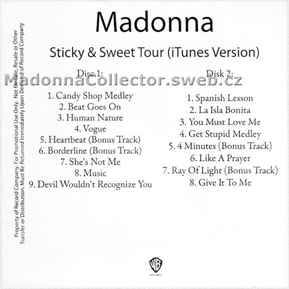 MADONNA Sticky & Sweet Tour (iTunes Version) - 2010 US Promo 2 x CD-Reference (03/11/10)