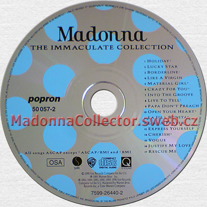 MADONNA The Immaculate Collection - 1990 Czechoslovakian CD (50057-2 / 7599-26440-2)