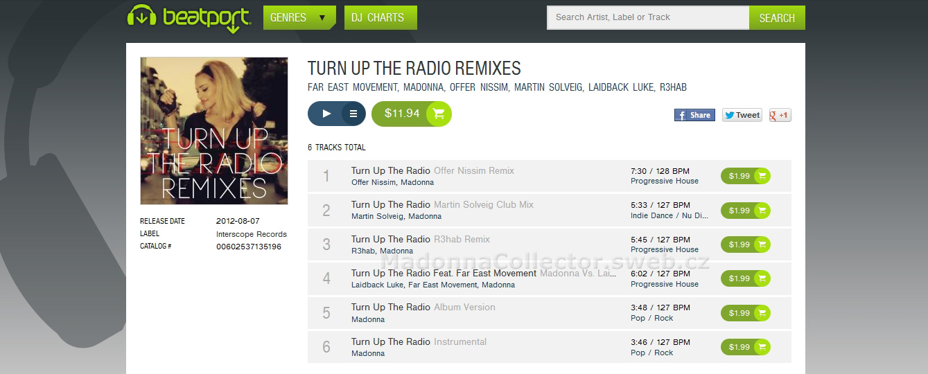 MADONNA - Turn Up The Radio Remixes - 2012 USA 6-trk Beatport.com WAV Download EP (00602537135196)