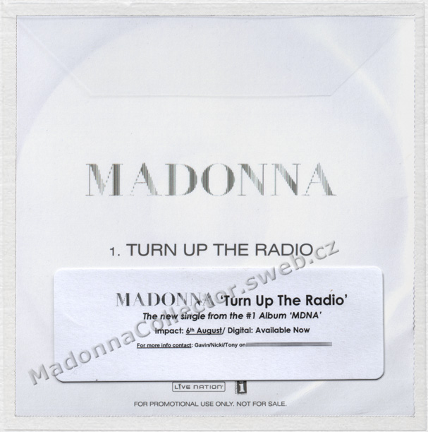 MADONNA - Turn Up The Radio - 2012 UK 1-trk Radio Promo CD-R
