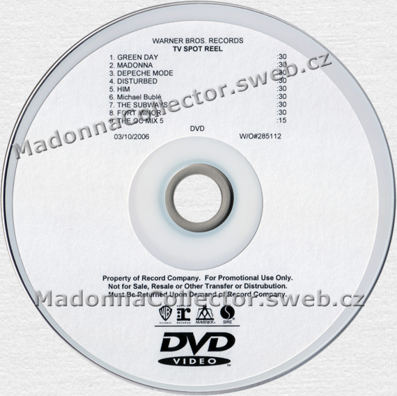 MADONNA TV Spot Reel - 2006 USA 9-track In-House Promo DVD-Reference Master (W/O#285112)